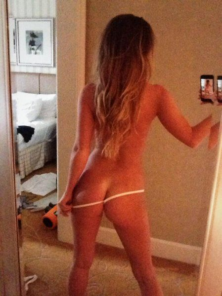 Blonde girl in thong self shot does